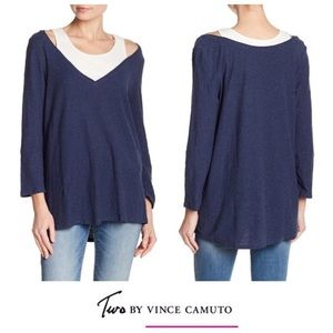 🌵Two by Vince Camuto 3/4 Sleeve Layered Tee